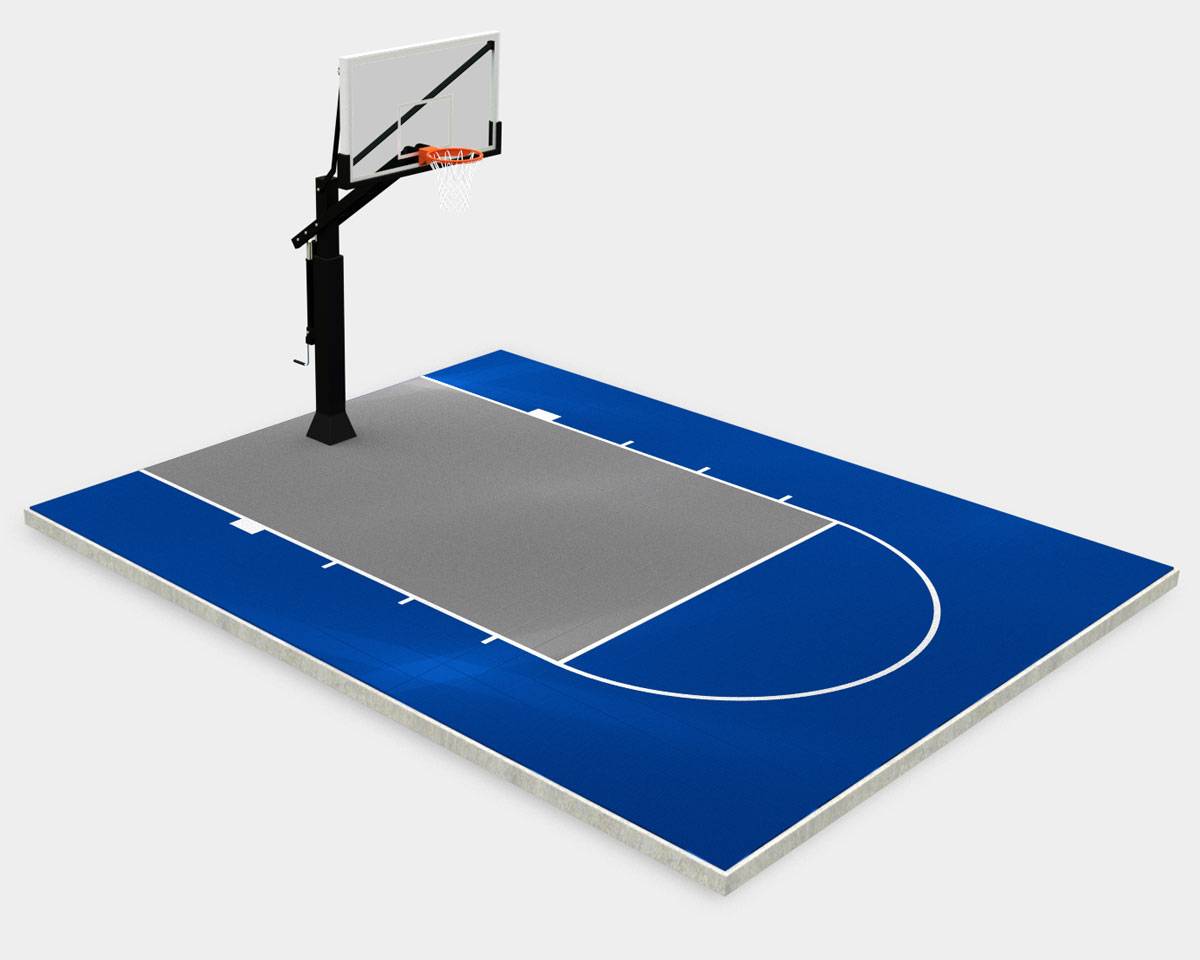 20' x 25' basketball court bright-blue with a gray key and lines