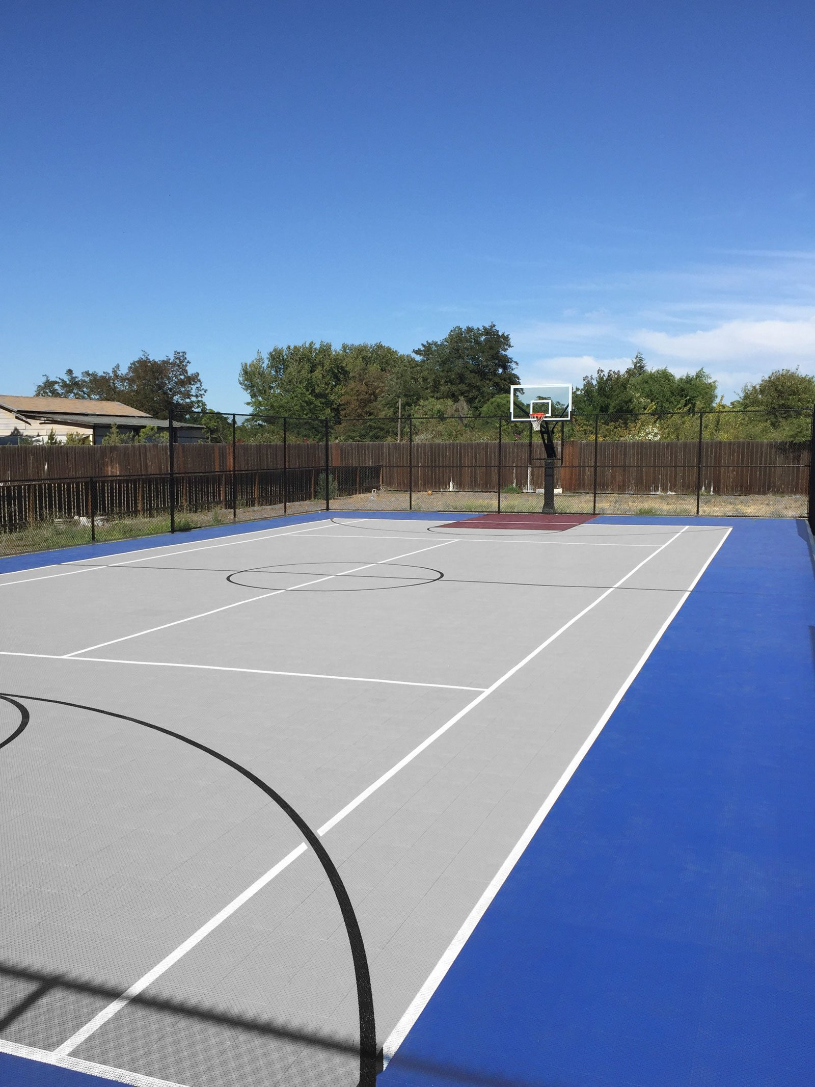 Bright blue, gray and burgundy multi-court