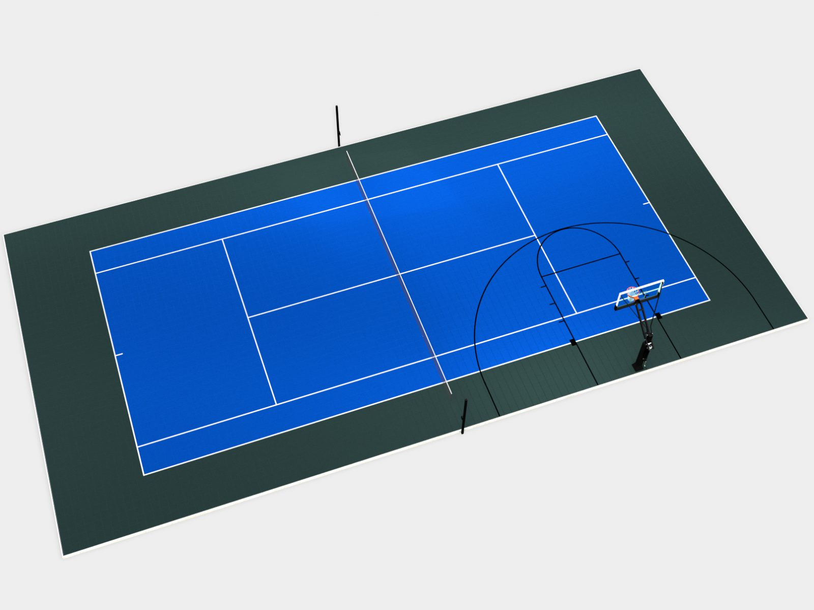 100' x 50' Multi-Court with tennis and half-court basketball