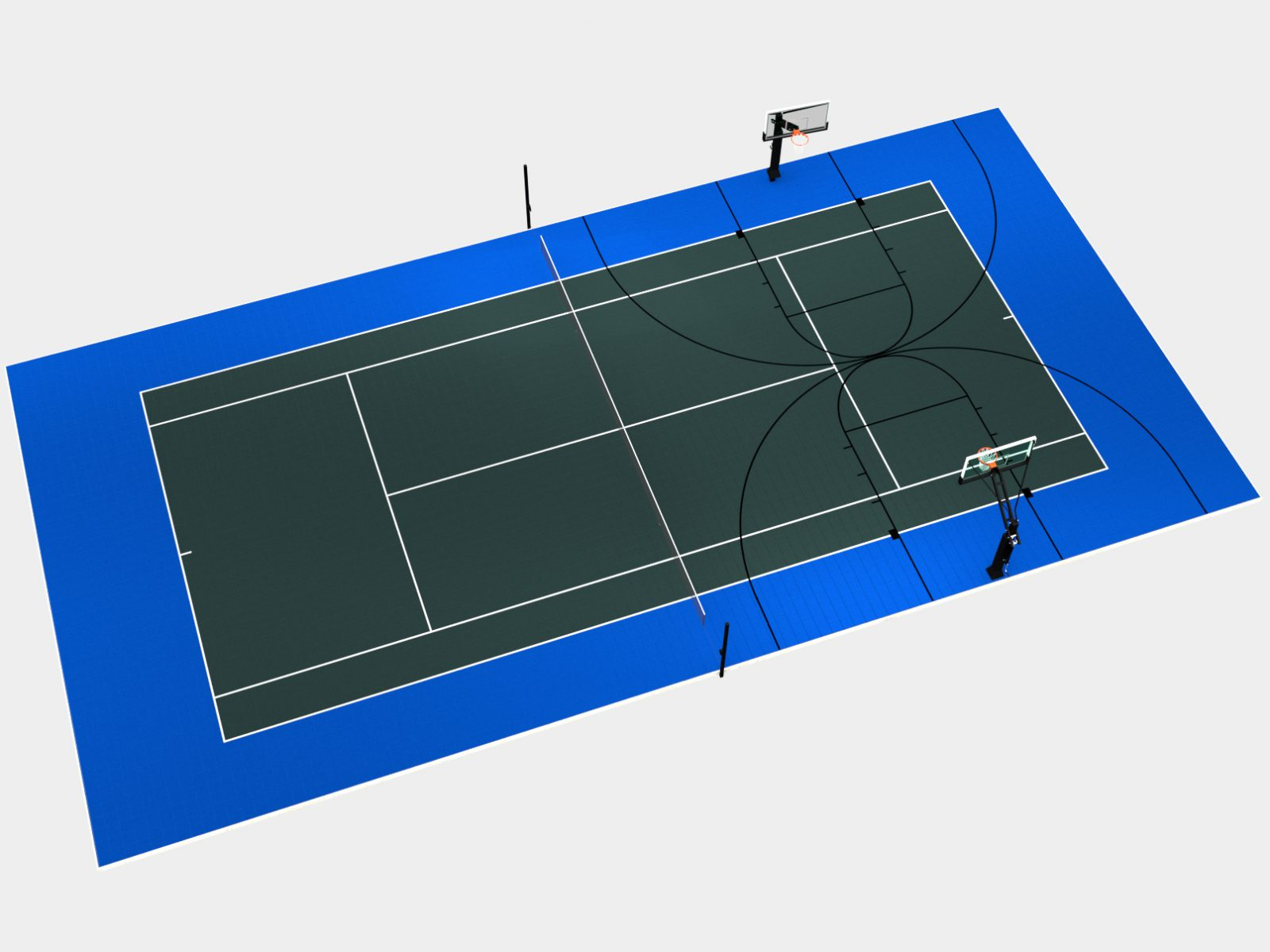 100' x 50' Multi-court with tennis and two basketball courts