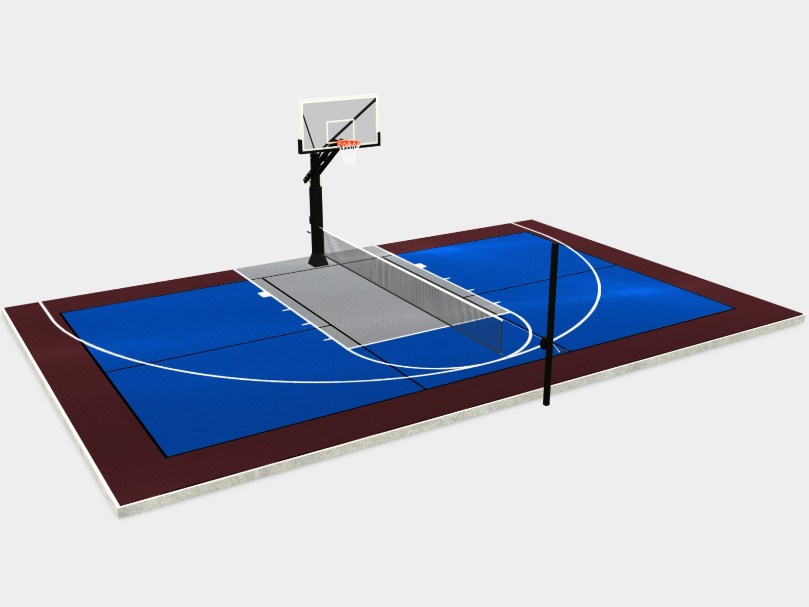 44' x 28' Half Multi-Court with Components