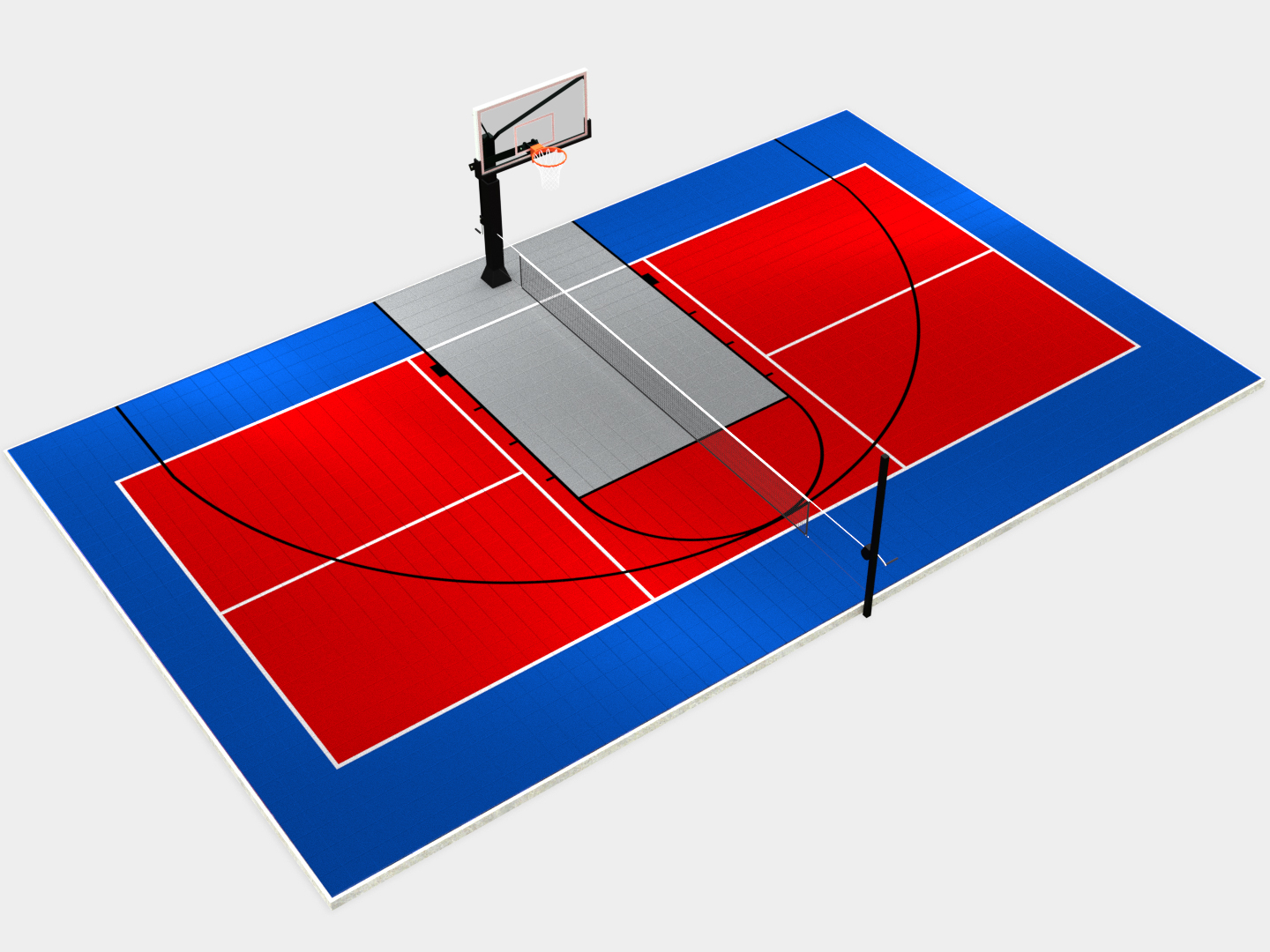 50' x 30' Half Multi-Court with Components