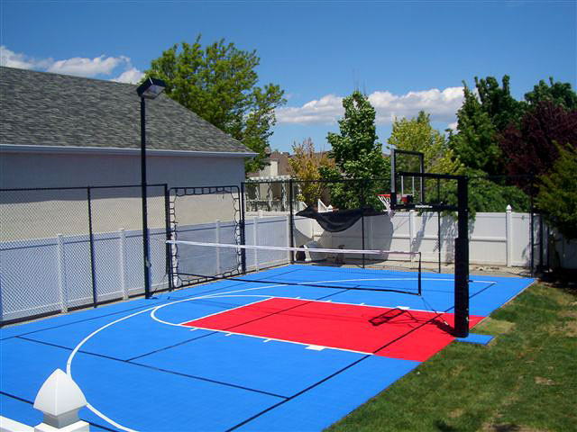 Bright blue and red backyard half multi-court
