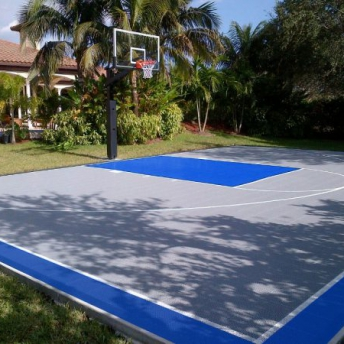 Backyard half basketball court in bright blue and gray