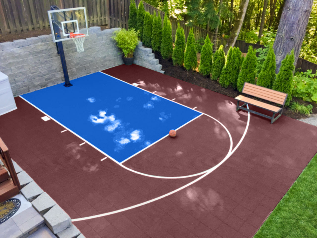 Burgundy and bright blue 20 x 25 basketball court