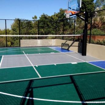 Evergreen, gray, and bright blue multi-court