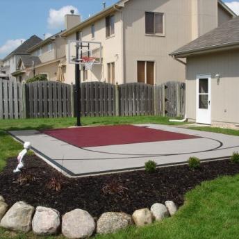 Gray and burgundy small basketball half court