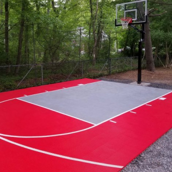 Bright red and gray basketball small half court
